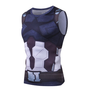 3D Captain America Bodybuilding Gyms Compression Tank Top