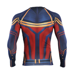 Avengers 4 Captain 3D Printed Men Long Sleeve Compression Shirts