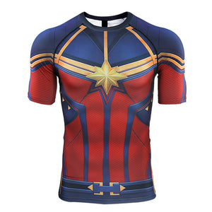 Avengers 4 Captain Marvel 3D Printed Men Short Sleeve Compression Shirts