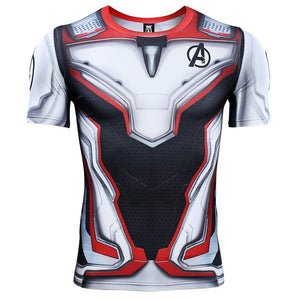 Avengers 4 Endgame Quantum War Iron Man 3D Printed Men Short Sleeve Compression Shirt