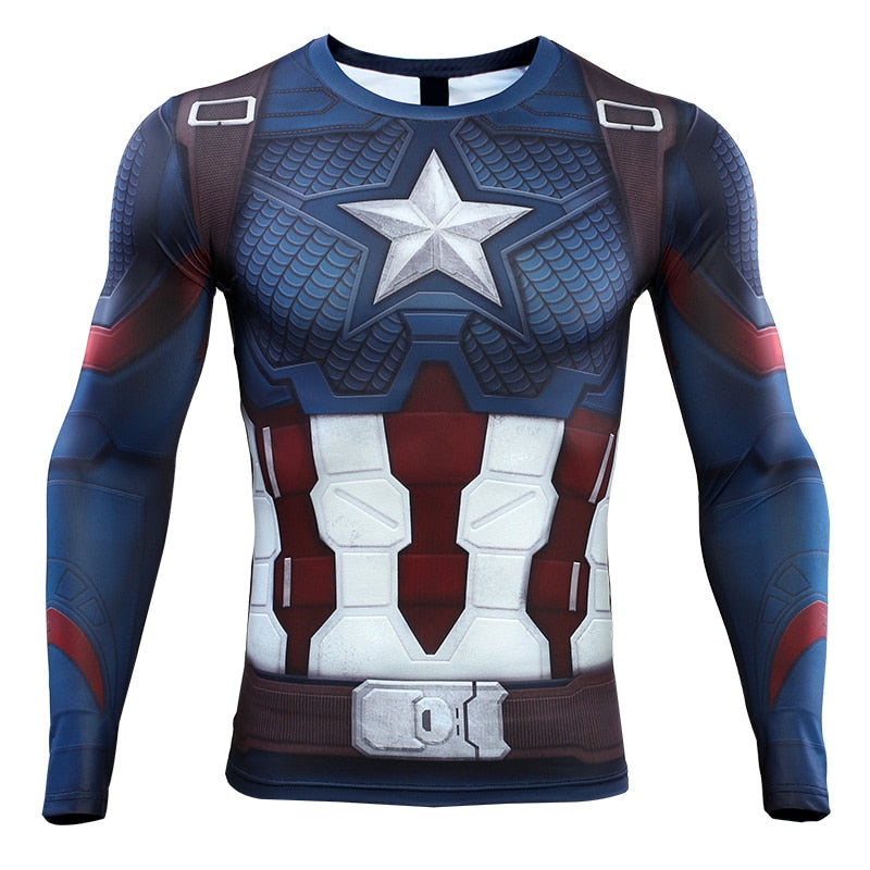 Avengers 4 Endgame Quantum War Men's Captain American 3D Long Compression Shirt 2019
