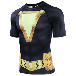 Black Adam 3D Printed Shazam Short Sleeve Compression Shirts