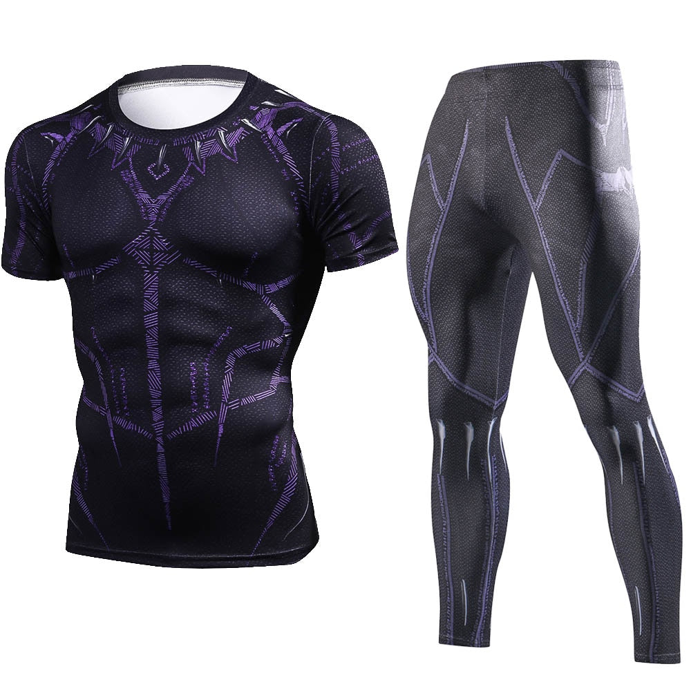 Black Panther Cosplay Set Costume Short T-shirt for Men