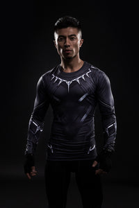Black Panther Men's Killmonger T Shirt Long Sleeve Compression Shirt Black - Newmeup