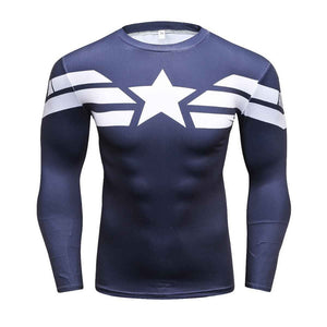 Captain America Long Sleeve Compression Shirt (Captain America 3d Tshirts) - Newmeup