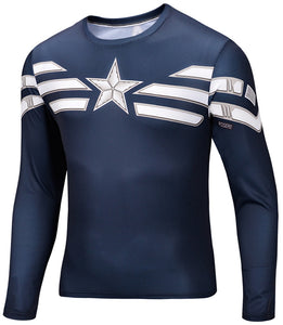 Captain America Star Long Sleeve Compression Shirt - Newmeup