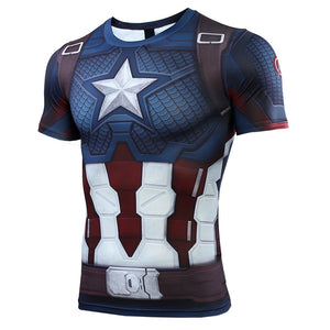 Captain American 3D Printed Avengers 4 Endgame Quantum War Compression Shirt