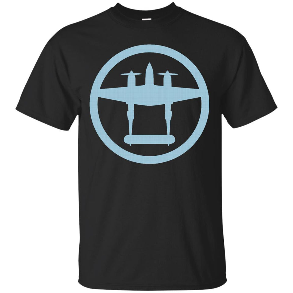 P-38 Lightning (Blue) World War II Airplane T-Shirt