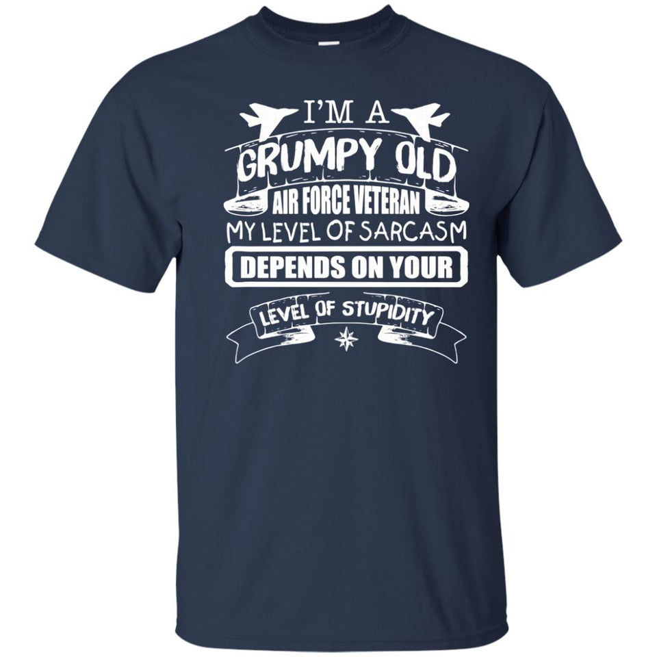 Mens Men's I'm A Grumpy Old Air Force Veteran My Level Of Sarcasm