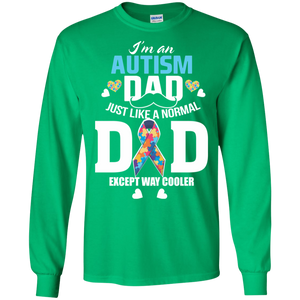 Autism Dad Autism Ribbon Puzzle Daddy Gift LS Sweatshirts