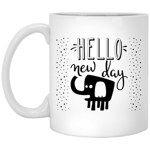 NewmeUP 11 Oz Coffee Mug Elephants Coffee Mug Hello New Day Elephants