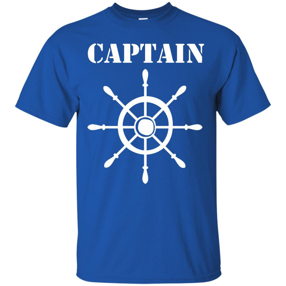 Captain Shirt, Ship Wheel Nautical Boating Father's Day Tee - Newmeup