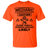 MECHANIC CAUTION T-shirt Flying Tools Offensive Language(Black) - Newmeup
