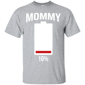 Women's Mommy Battery T-Shirt Funny Low Energy Sarcasm - Newmeup