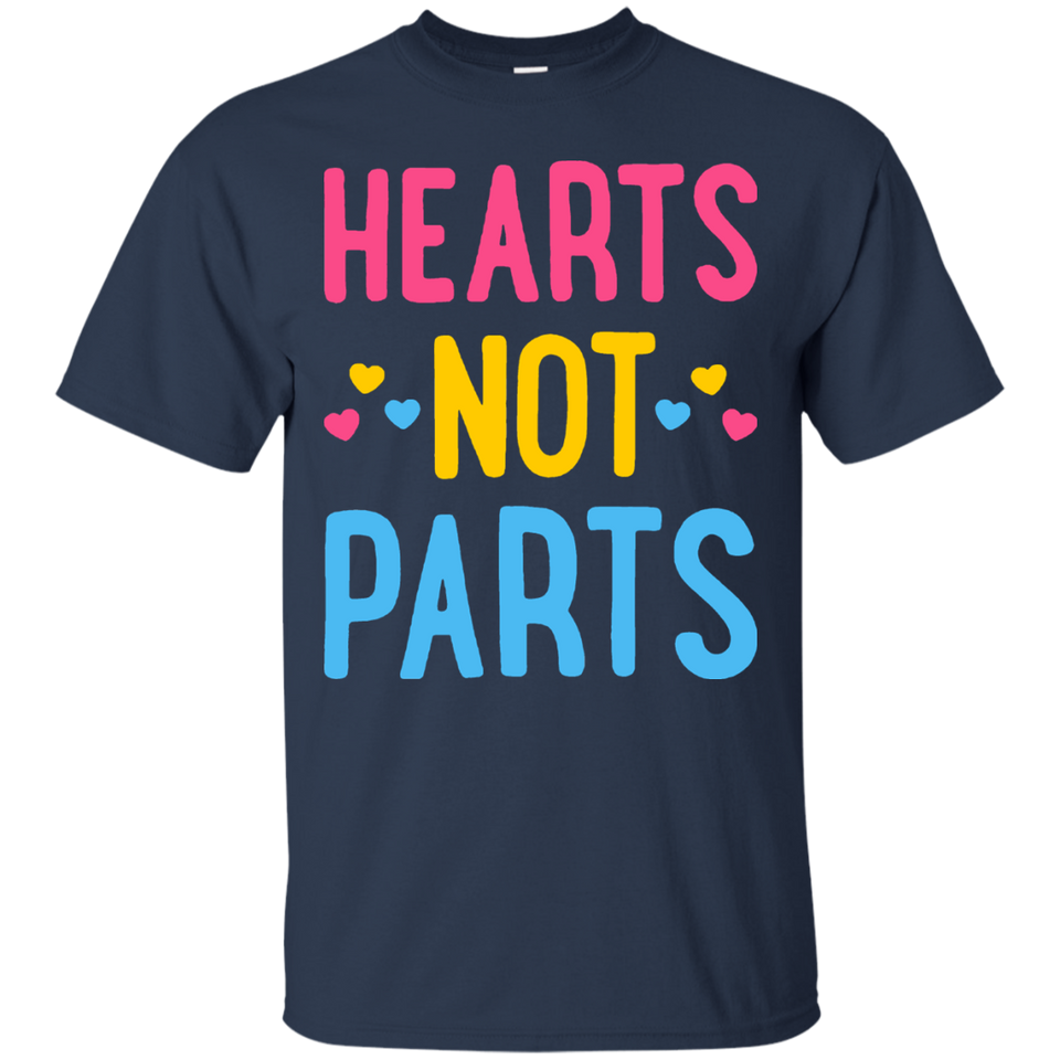 HEARTS NOT PARTS PANSEXUAL T SHIRT GAY PRIDE LGBT 2017