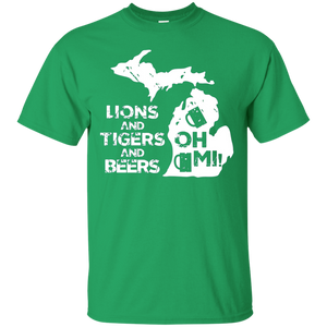 LIONS and TIGERS and BEERS OH MI active T-shirt 1