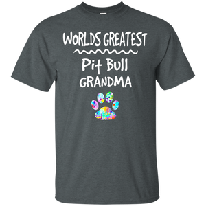 Worlds Greatest Pit Bull Grandma Shirt Love Dogs Tee - Newmeup