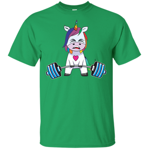 Unicorn Weightlifting T shirt Fitness Gym Deadlift Rainbow