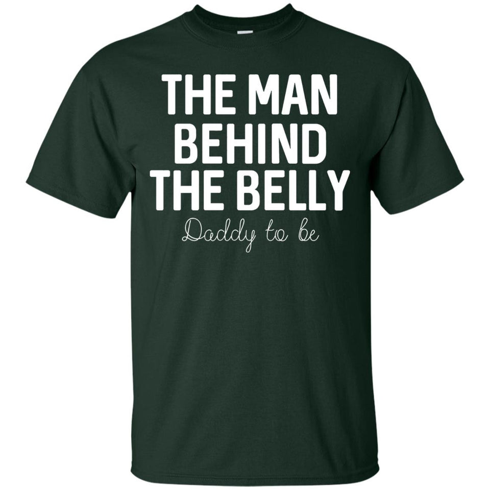 Men's Dad to Be Fathers Day Gift Men Behind the Belly T Shirt