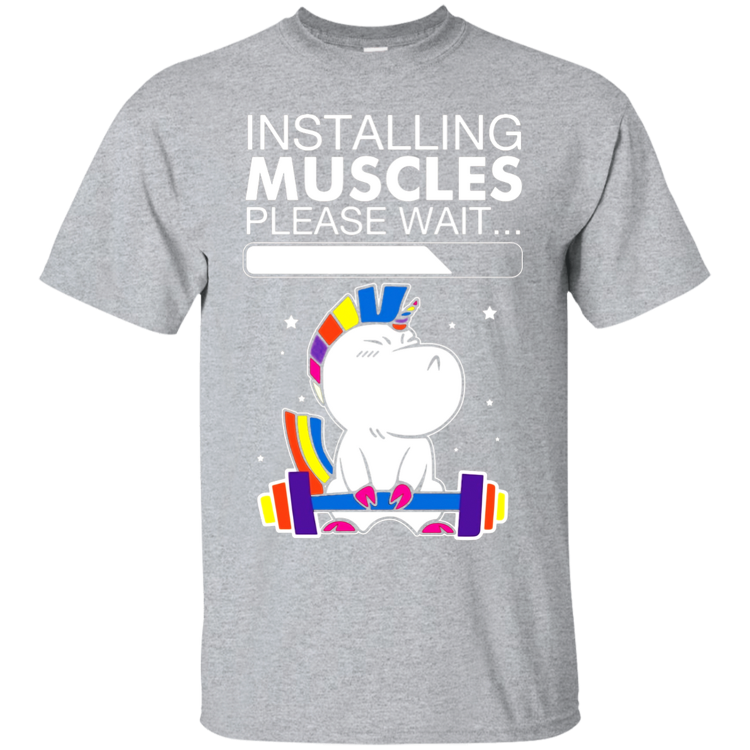 Unicorn Installing Muscles Please Wait Funny Fitness T-shirt - Newmeup