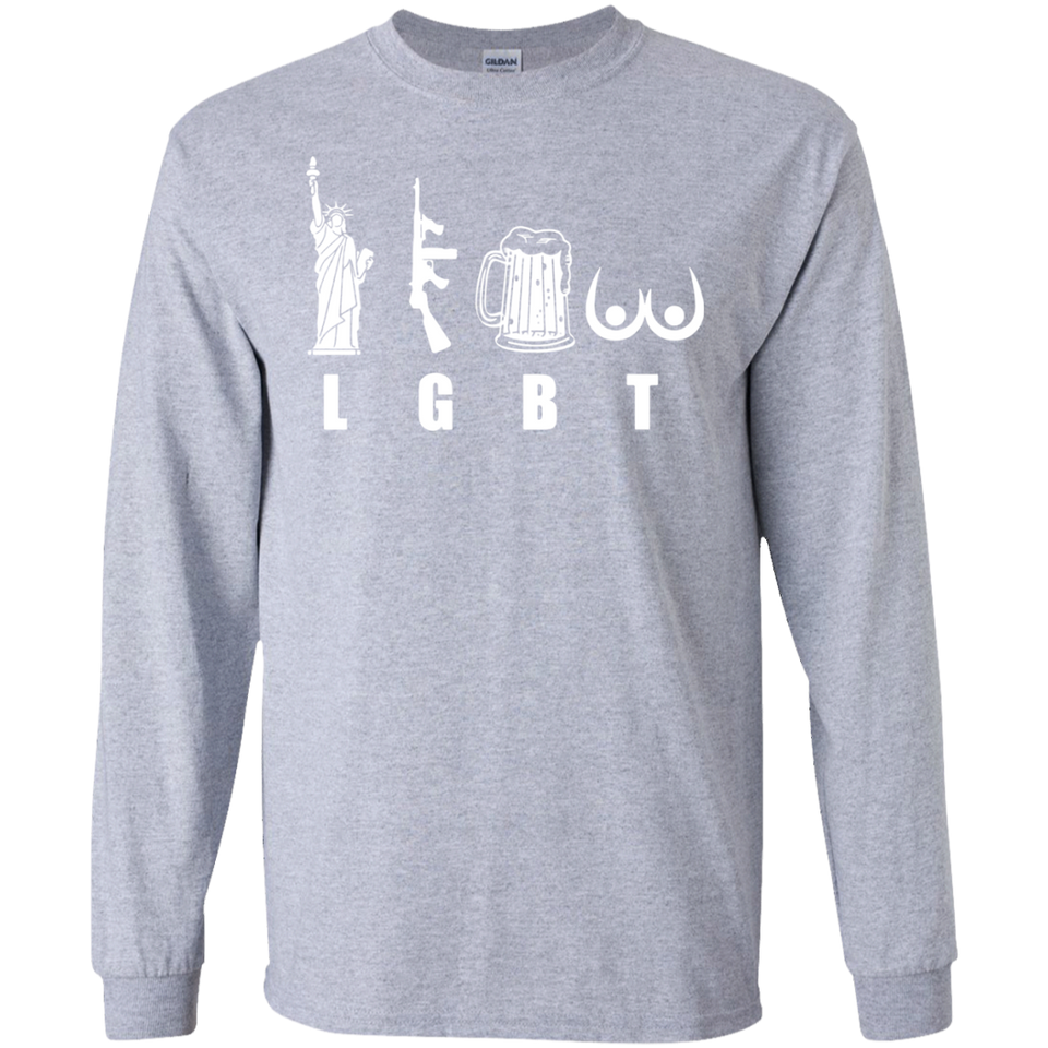 LGBT Funny Shirt Liberty Guns Beer and Ta Tas Big Icon White SWEATSHIRT - newmeup