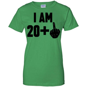 I Am 20 + Middle Finger Funny 21st Birthday T-Shirt