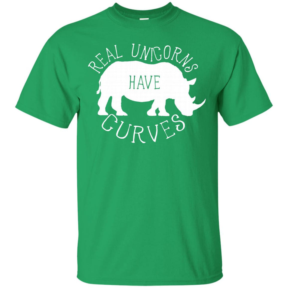 Real Unicorns Have Curves Funny Rhino Shirt White Graphic