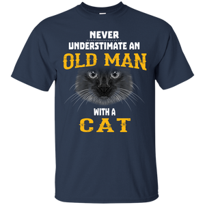 NewmeUp Men's Never Underestimate an Old Man With A Cat T-shirts