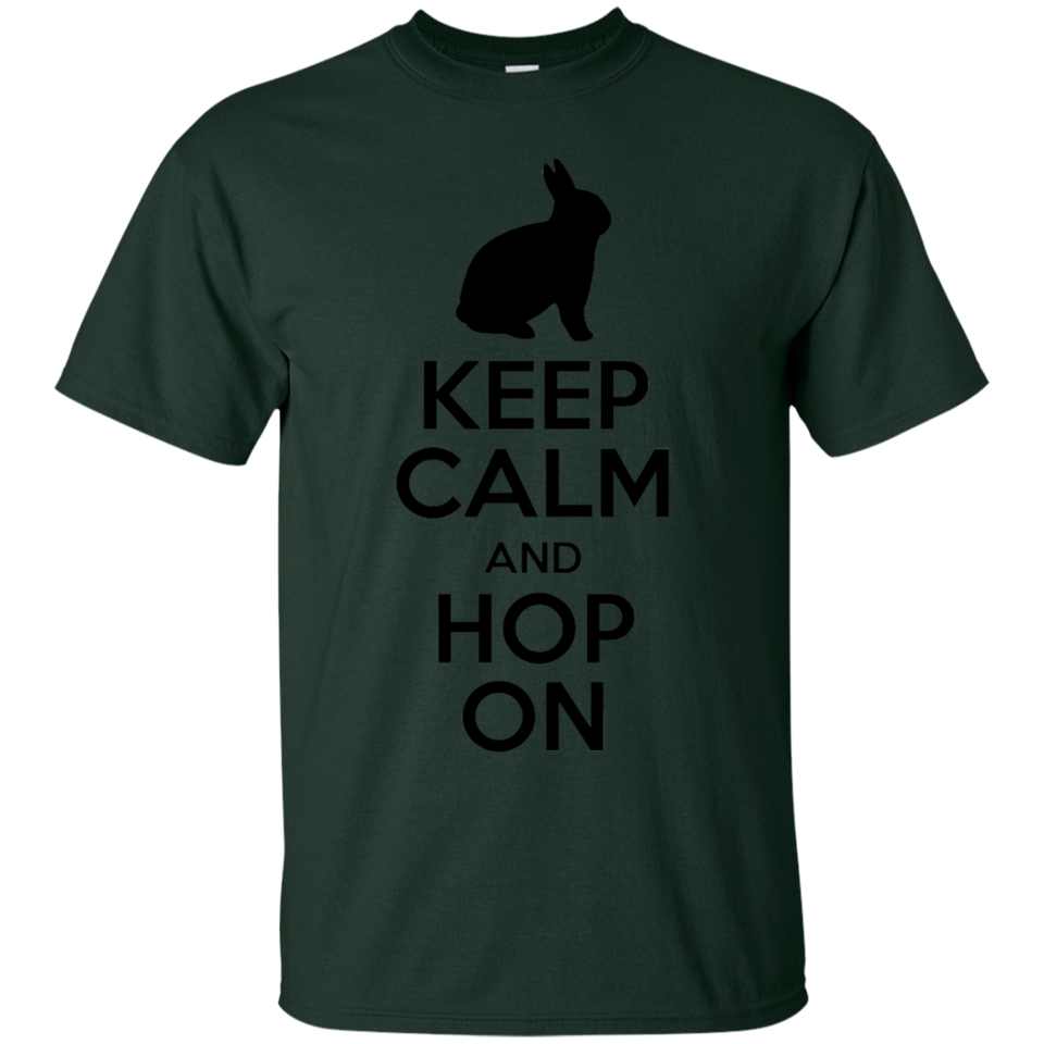 Keep Calm And Hop On Rabbit Bunny T-Shirt Black