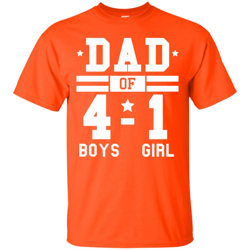 Men's Dad of Four Boys and One Girl Football Score Style Shirt