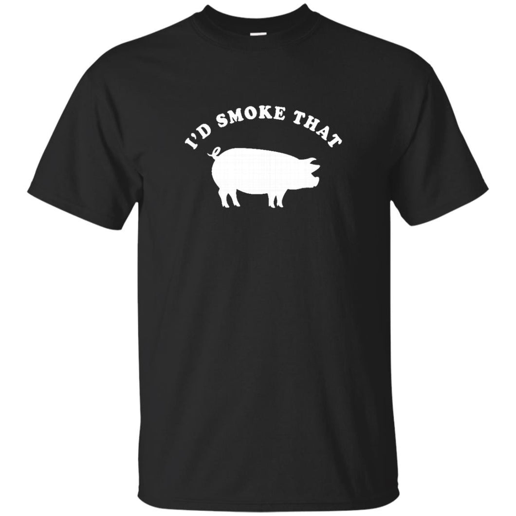 I'd Smoke That T-Shirt Funny Pig Smoking BBQ Shirt