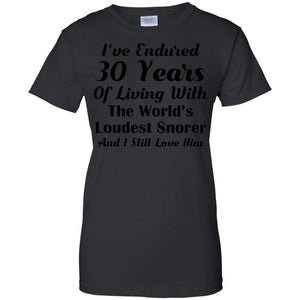 Funny Snoring T-shirt 30th Wedding Anniversary Gift Wife Tee