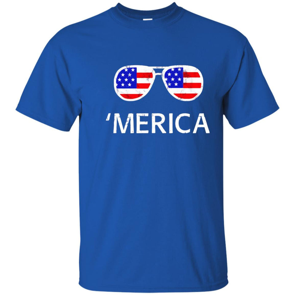 Merica Sunglasses Shirt American Flag 4th of July Clothing