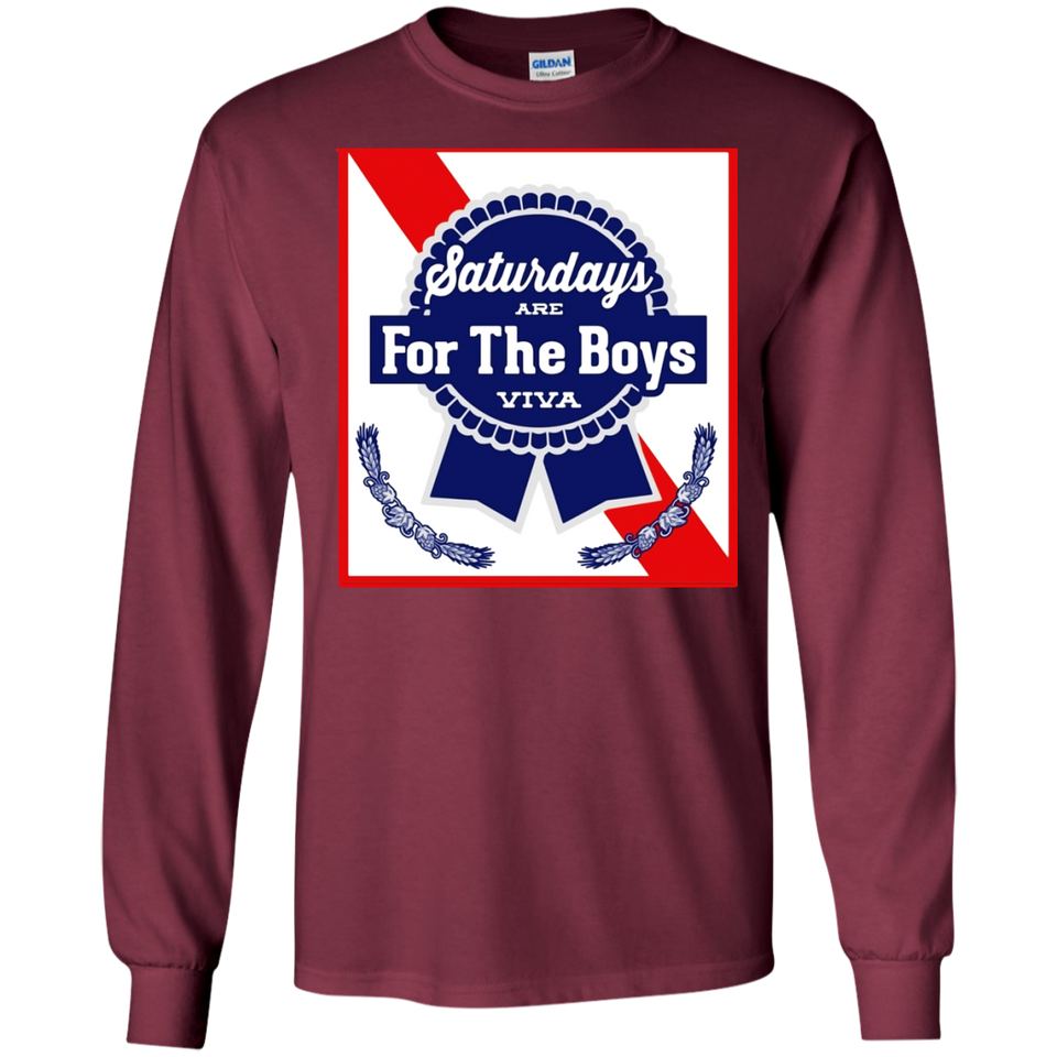 Saturdays Are For The Boys Shirt Blue Beer Ribbon Label Can SWEATSHIRT - newmeup