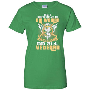 Never Underestimate Old woman DD 214 Veteran T-Shirt