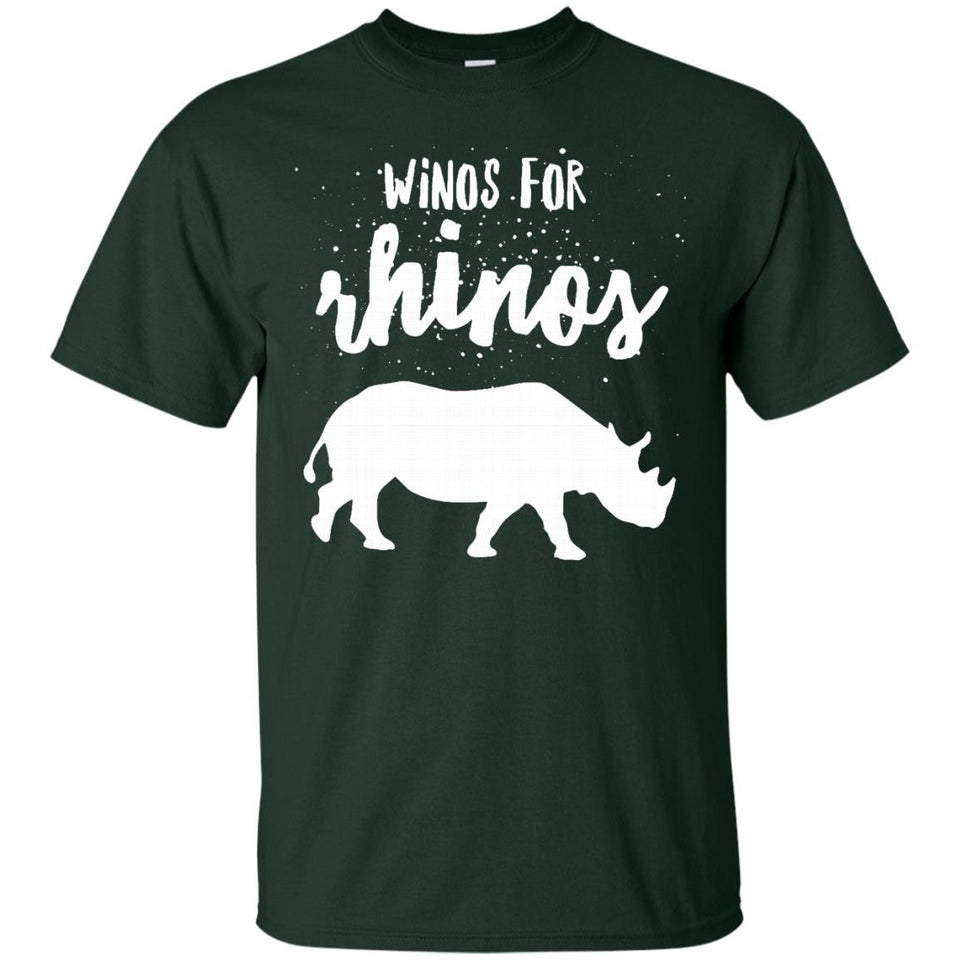 Winos For Rhinos Shirt - Rhinoceros Shirt With White Print - Newmeup
