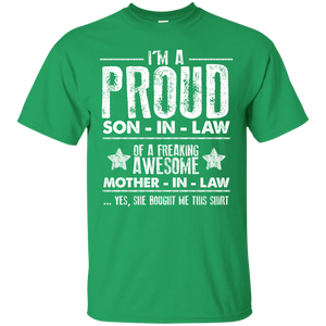 Men's Proud Son In Law Of Awesome Mom In Law T-Shirt
