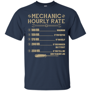 NewmeUp Men's Mechanic T-Shirt Mechanic Hourly Rate Job Shirts