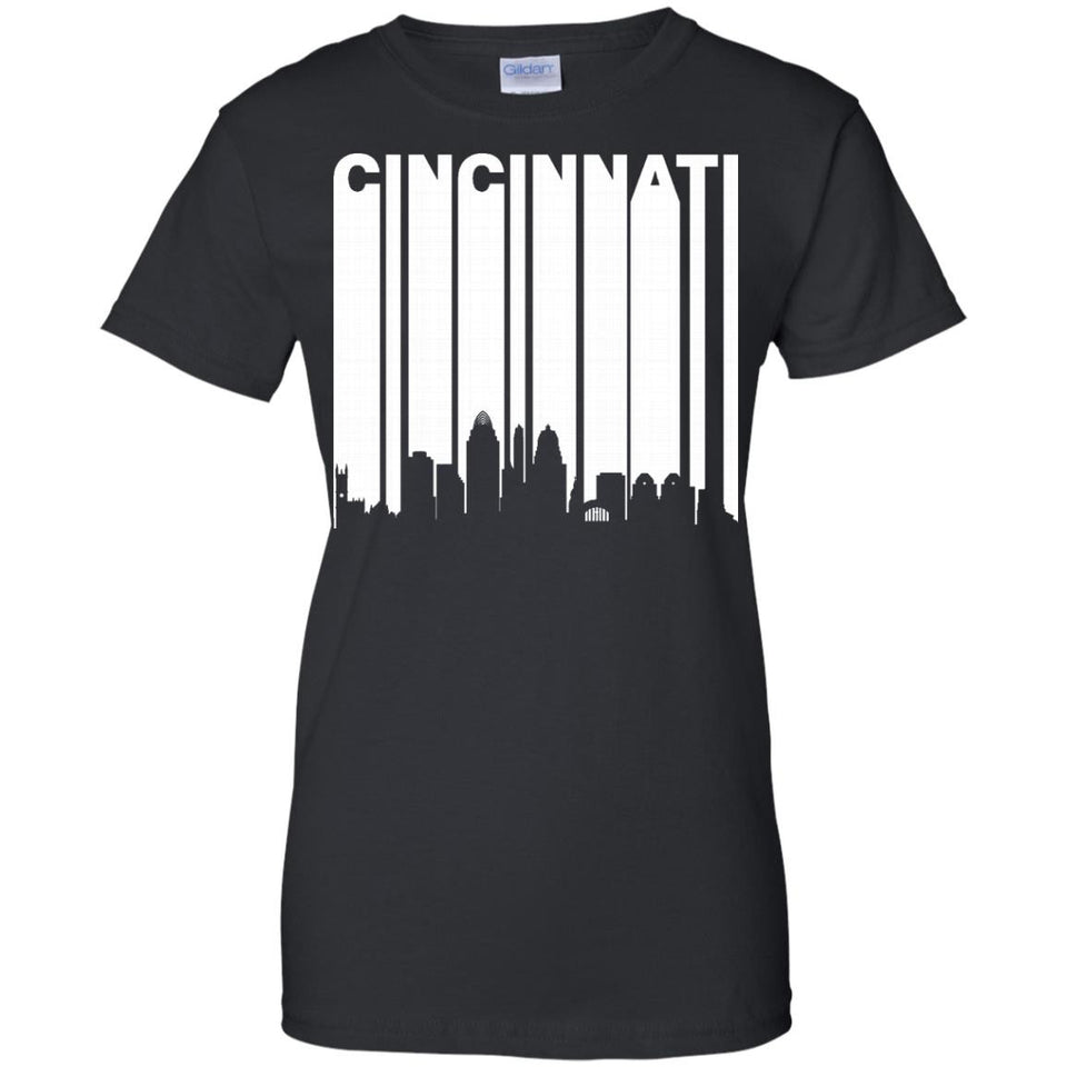 Retro 1970s Cincinnati Ohio Cityscape Downtown Skyline Shirt