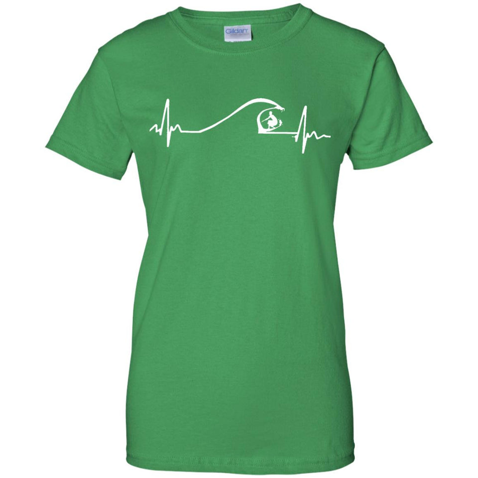 Surfer Surfing Wave Heartbeat T shirt Gifts