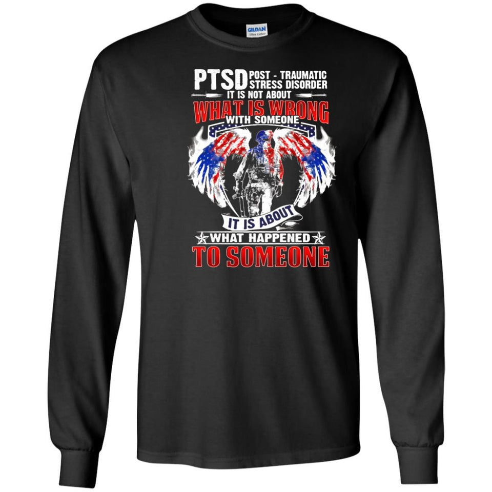 Post Traumatic Stress Discorder Veteran T-shirt PTSD back