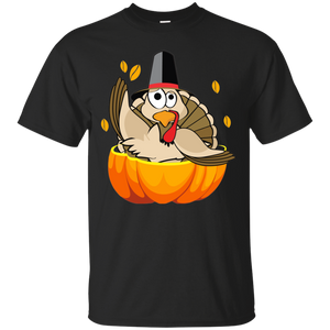 Turkey in Pumpkin Thanksgiving Holidays Taped Neck Girl Cotton Rib Dress