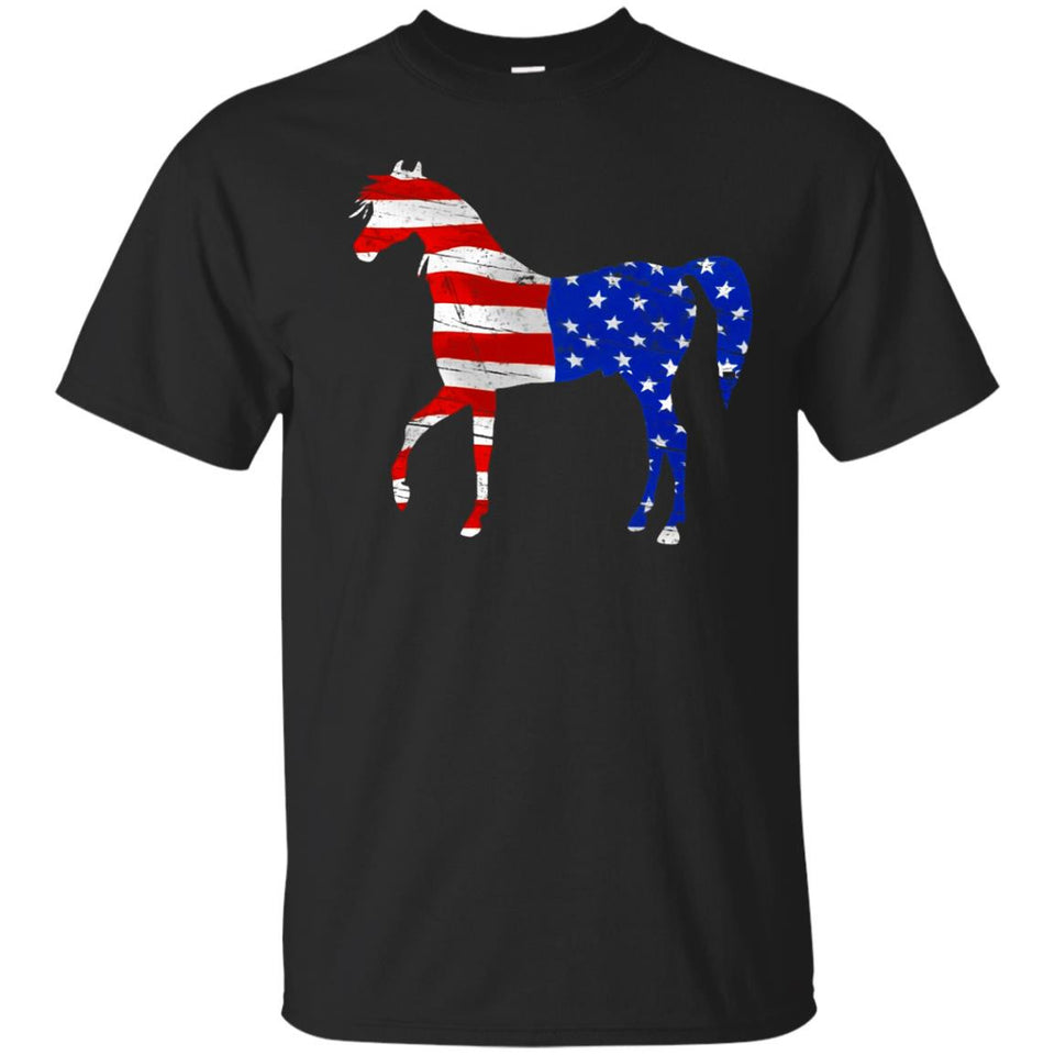 Patriotic Horse USA American Flag T-Shirt 4th of July