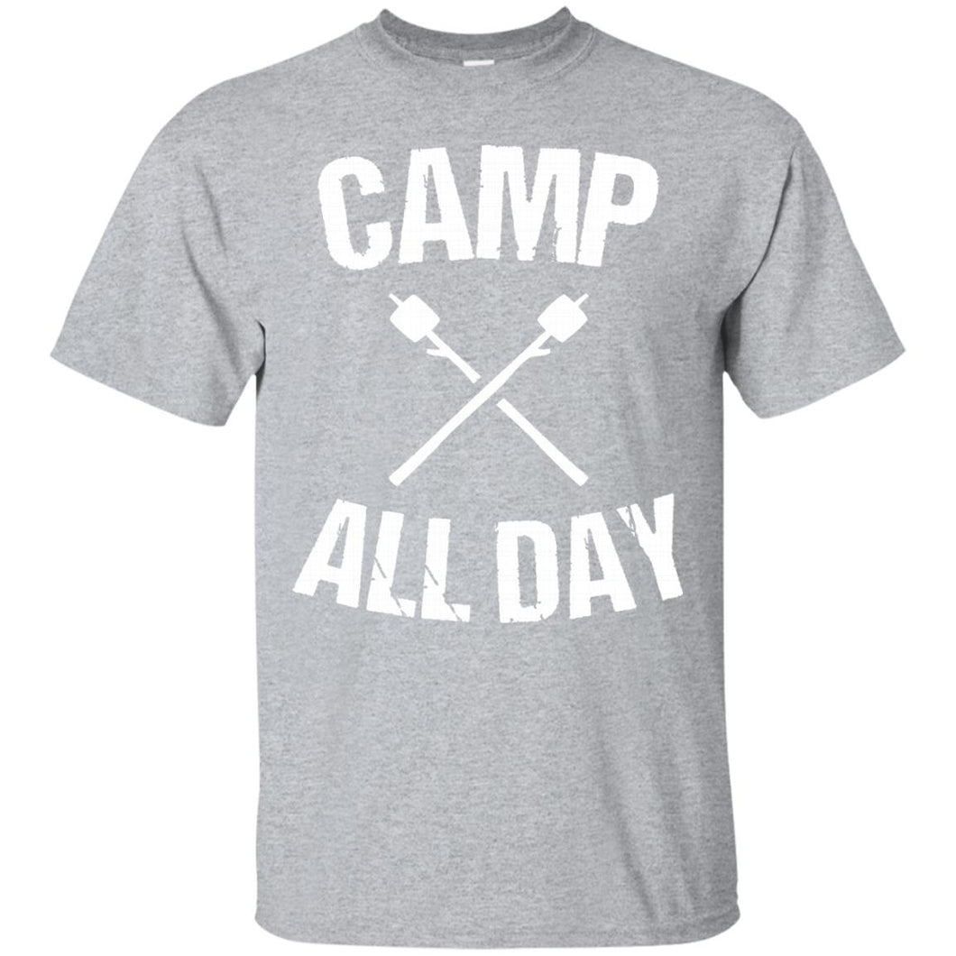 Camp All Day Fish Hunt Hike Funny Cool Outdoorsmen T Shirt - Newmeup