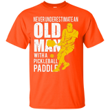 Mens Never Underestimate Old Man with Pickleball Paddle T-shirt