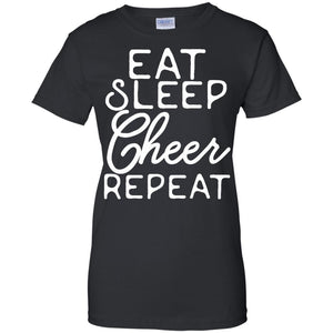 Funny Cheerleading T-Shirt 'Eat Sleep Cheer Repeat'
