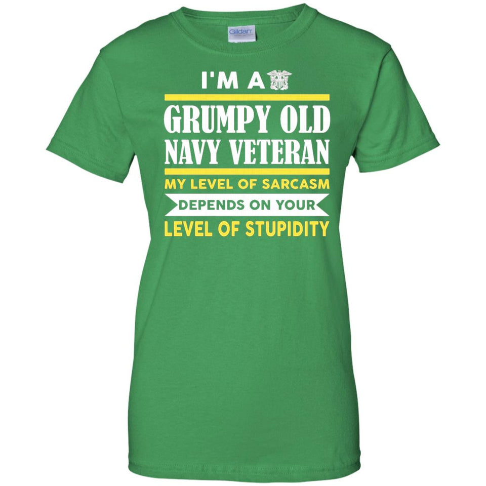 Men's I'm A Grumpy Old Navy Veteran My Level Of Sarcasm Depends On
