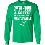 With Jesus In Her Heart And Coffee In Her Hand T Shirt SWEATSHIRT - Newmeup