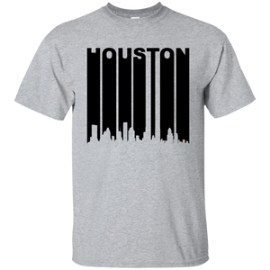 Retro 1970's Houston Texas Cityscape Downtown Skyline Shirt Black