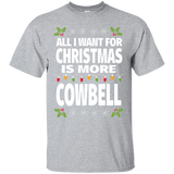 All I Want For Christmas Is More Cowbell Funny Music T-Shirt - Newmeup